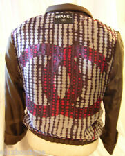 CHANEL JACKET Blazer Brown Silver Red Purple Coat w MUST SEE Silk CC LINING! NEW