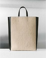 Celine  Shearling Black Leather Vertical Gusset Cabas Tote Bag NEW