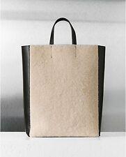 Celine  Shearling Black Leather Vertical Gusset Cabas Tote Bag NEW