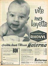 H- Publicité Advertising 1961 Layette vetement Bébé Materna