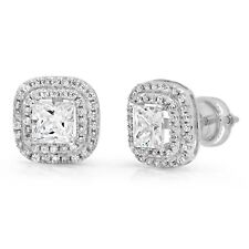 Princess-cut Created Sapphire Stud Earrings in 14k White Gold