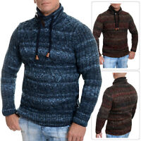 Mens Winter Sweater Funnel Polo Neck Jumper Wool Cable Knit Blue Brown Slim Fit