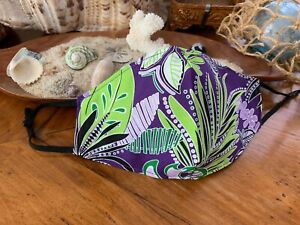 Hawaiian Purple and Lime Floral Cotton Mask