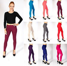 Womens Ladies Full Length Stretchy Elasticated Plain Leggings Sizes 8-14
