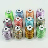 New Brothread 12 Colors Variegated Polyester Embroidery Machine Thread Kit 500M