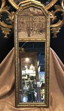 Antique 1920s Narrow Wall Mirror Labeled with Award Winning Textile Element