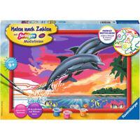 RAVENSBURGER Malen nach Zahlen Welt der Delfine Komplettset Malset ab 9 Jahren
