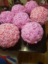 Baby pink, flower kissing ball with dimantes.very big