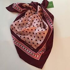 """Kate Spade Scarf Square 100% Silk Floral Tile Pink Sand 34"""" New"""
