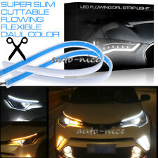 2X60CM Car Flexible Slim DRL Sequential Switchback LED Knight Rider Strip Light