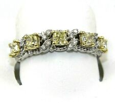 Natural Princess Cut Yellow Diamond Cluster Channel Ring 14k White Gold 1.10Ct