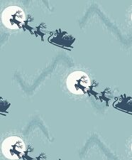 SANTA'S SLEIGH ON ICY BLUE BY LEWIS & IRENE - COTTON FABRIC FQ'S
