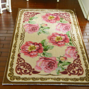 """8"""" Larger 1/12 1/6 Scale French Country Nice Peony Bunches Dollhouse Rug"""