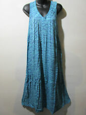 Dress Fit 1X 2X 3X Plus Sundress Blue Water Color A Shape Cotton V Neck NWT G325