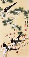 ORIENTAL ASIAN ART CHINESE FAMOUS WATERCOLOR PAINTING-Happy bird&Plum blossom