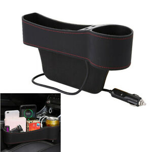 1Pcs Seat Gap Dual USB Storage Box Cups Holder Universal Fit For Car Right Side