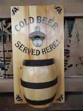 WOOD BEER SIGN WHISKEY MAN CAVE BARREL SALOON BAR 15X8 Bottle Opener Wall Mount