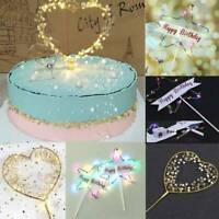 DIY LED Pearl Heart Star Cake Topper Happy Birthday Cake Baking Party Decor CN