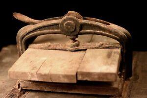 Antique Cast Iron and wooden Book Press Decorative art