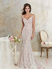 ALFRED ANGELO MODERN VINTAGE 8531 NEW 6 IVORY LACE CAMEO SATIN PEARL BRIDAL GOWN