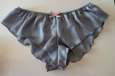 French Knickers Micro silky satin panties SILVER ROSE SEXY lingerie underwear