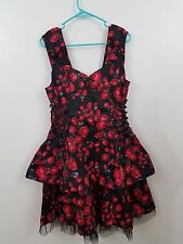 h & R 16 plus black red rose floral dress rockabilly VLV pinup retro NEW corset