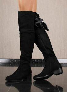 Flache Damen Velours Overknees mit Schnürung Schwarz #LH70