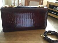 Beautiful brown crocodile leather clutch,hand and shoulder bag