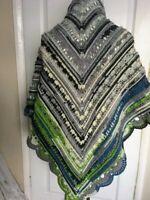 New handmade crocheted multi colour wool, acrylic blend shawl
