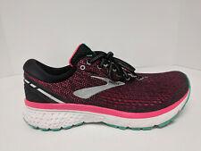 Brooks Ghost 11 Running Shoes, Black/Pink/Aqua, Womens 10 M