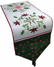 Christmas Holiday Holly Floral Polka Dot Tapestry Table Runner by Cindy Shamp