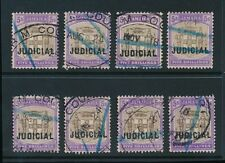 JAMAICA 1905 FIVE SHILLINGS GREY + VIOLET JUDICIAL OPT OVAL + FISCAL...8 stamps