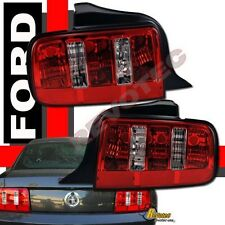 2005-2009 Ford Mustang V6 GT Coupe Convertible Red Clear Tail Lights Lamps