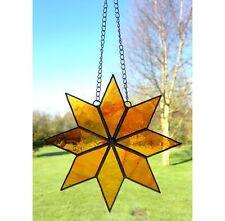 Handmade Stained Glass Star Suncatcher, Orange Glass Gift Decoration
