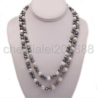 New 8-9mm Multi-color Round Natural Cultured Freshwater Pearl Long Necklace 46""