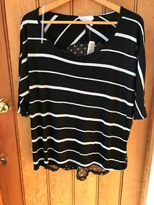 Romeo Juliet Light Jersey Stripe Top Dotback L Bnwt