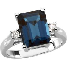 Natural 10x8 mm London Blue Topaz Emerald Cut Gem & Diamonds Ring 14K White Gold