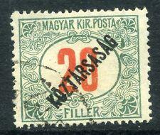 HUNGARY; 1918-19 early KOZTARSASAG Optd Postage Due 20f. fine used value