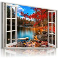 AUTUMN RIVER LAKE 3D Window View Canvas Wall Art Picture  W84 MATAGA