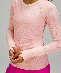 NEW Women Lululemon Swiftly Tech Long Sleeve 2.0 Grid Warp Pink Mist SZ 4-6-8-10