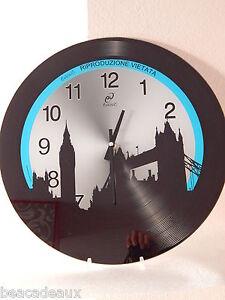 OROLOGIO MODERNO ROTONDO da parete LONDRA in vetro DIAM.38 cm. NERO E BLU