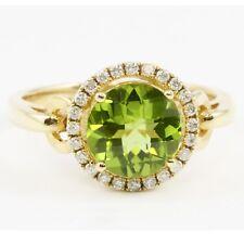 14k Yellow Gold Round Green Peridot Diamond Halo Ring Band 2.11 TCW Sz 6.5
