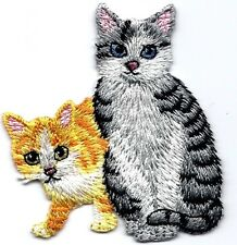 CAT AND KITTEN Iron On Patch Animals Kittens Pets