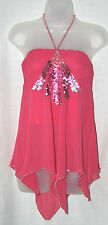 RIVER ISLAND (UK8 / EU36) PINK SILK HALTERNECK TOP WITH HANKY HEM & SEQUINS