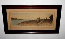 Vintage 1800's Art, Signed Robert Moresby Enhanced WATERCOLOR Engraving, Frame