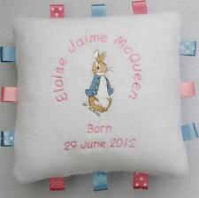 Peter Rabbit Cuddly Cushion - PERSONALISED - New Baby Christening, Birthday Gift