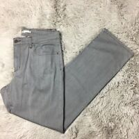 Eileen Fisher Sz 12 Light Gray Mid Rise Straight Leg Jeans Organic Cotton