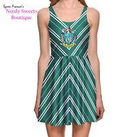 Harry Potter Hogwarts House Slytherin Crest Stripe Green Skater Dress reversable