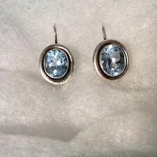 SILPADA 925 Sterling Silver Blue Topaz Oval  Earrings (30) W1157