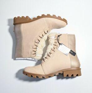 Sorel Phoenix Lace Lux Ankle Boots NEW Sz 10.5 Natural Tan Blush AD460 $210